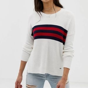 hollister white blue and red sweater